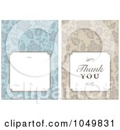 Royalty Free RF Clip Art Illustration Of A Digital Collage Of A Beige Thank You Label And A Blue Floral Invitation