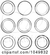 Royalty Free RF Clip Art Illustration Of A Digital Collage Of Black And White Vintage Circle Seals by BestVector