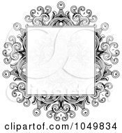 Royalty Free RF Clip Art Illustration Of A Black And White Gothic Frame With A Faded Pattern In The Center by BestVector