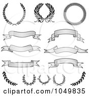 Royalty Free RF Clip Art Illustration Of A Digital Collage Of Vintage Grayscale Banners Laurels And Wreaths