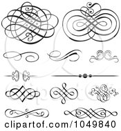 Royalty Free RF Clip Art Illustration Of A Digital Collage Of Vintage Victorian Swirl And Rule Design Elements