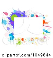 Grungy Rectangular Frame With Splatters And Flowers