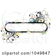 Grungy Rounded Long Frame With Splatters Vines And Butterflies