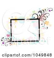 Grungy Square Frame With Splatters Vines And Butterflies