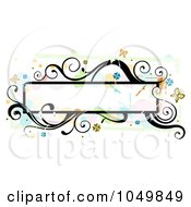 Royalty Free RF Clip Art Illustration Of A Grungy Long Frame With Splatters Vines And Butterflies