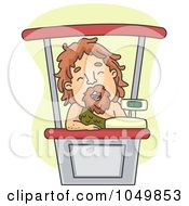 Royalty Free RF Clip Art Illustration Of A Caveman Cashier by BNP Design Studio