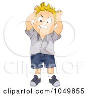 Royalty Free RF Clip Art Illustration Of A Frustrated Boy Pulling His Hair by BNP Design Studio
