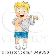 Royalty Free RF Clip Art Illustration Of A Happy Cartoon Boy Getting Dressed