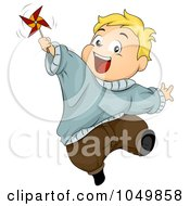 Royalty Free RF Clip Art Illustration Of A Happy Chubby Boy Playing With A Pinwheel by BNP Design Studio