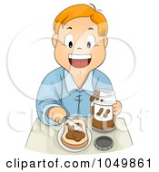 Royalty Free RF Clip Art Illustration Of A Boy Spreading Peanut Butter On Bread