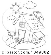 Royalty Free RF Clip Art Illustration Of A Coloring Page Outline Of A House by BNP Design Studio