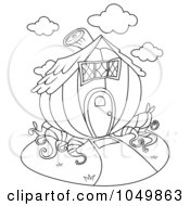 Royalty Free RF Clip Art Illustration Of A Coloring Page Outline Of A Pumpkin House by BNP Design Studio