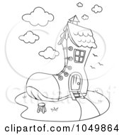 Royalty Free RF Clip Art Illustration Of A Coloring Page Outline Of A Shoe House by BNP Design Studio