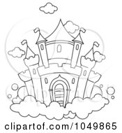 Royalty Free RF Clip Art Illustration Of A Coloring Page Outline Of A Castle In The Clouds