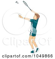 Royalty Free RF Clip Art Illustration Of A Teenage Boy Playing Badminton