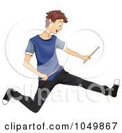 Royalty Free RF Clip Art Illustration Of A Teen Boy Jumping With Drum Sticks