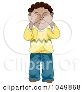 Royalty Free RF Clip Art Illustration Of A Black Boy Covering His Eyes