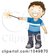 Royalty Free RF Clip Art Illustration Of A Boy Holding Out A New Year Or Fourth Of July Sparkler