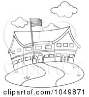 Royalty Free RF Clip Art Illustration Of A Coloring Page Outline Of A School