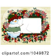 Royalty Free RF Clip Art Illustration Of A Poinsettia And Snowman Frame With White Copyspace