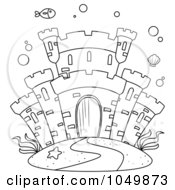 Royalty Free RF Clip Art Illustration Of A Coloring Page Outline Of A Castle Underwater