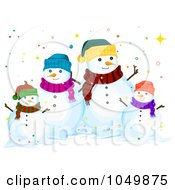 Royalty Free RF Clip Art Illustration Of A Snowman Family Surrounded By Colorful Dots