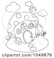 Royalty Free RF Clip Art Illustration Of A Coloring Page Outline Of A Mushroom House by BNP Design Studio