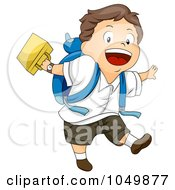 Royalty Free RF Clip Art Illustration Of A Happy Boy Skipping Home After School