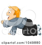Royalty Free RF Clip Art Illustration Of A Boy Crawling And Shouting