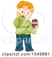 Royalty Free RF Clip Art Illustration Of A Messy Cartoon Boy Eating A Chocolate Candy Bar