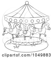 Royalty Free RF Clip Art Illustration Of A Coloring Page Outline Of A Carousel by BNP Design Studio