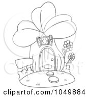 Royalty Free RF Clip Art Illustration Of A Coloring Page Outline Of A Clover House by BNP Design Studio