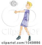 Royalty Free RF Clip Art Illustration Of A Teen Boy Playing Volleyball by BNP Design Studio