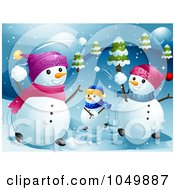 Royalty Free RF Clip Art Illustration Of A Snowman Family Having A Snowball Fight