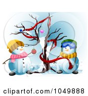 Snowman Couple Decorating A Bare Christmas Tree