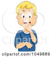 Royalty Free RF Clip Art Illustration Of A Nervous Cartoon Boy Biting His Finger
