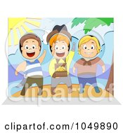 Royalty Free RF Clip Art Illustration Of Children Sticking Their Heads In A Pirate Scene