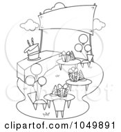 Royalty Free RF Clip Art Illustration Of A Coloring Page Outline Of A Garden Birthday Party by BNP Design Studio