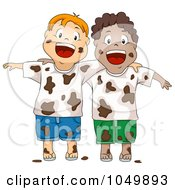 Royalty Free RF Clip Art Illustration Of A Two Dirty Boys After A Mud Fight