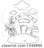 Royalty Free RF Clip Art Illustration Of A Coloring Page Outline Of A Summer House