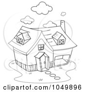 Royalty Free RF Clip Art Illustration Of A Coloring Page Outline Of A Home by BNP Design Studio