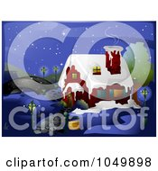 Royalty Free RF Clip Art Illustration Of A Winter House Near A Bridge At Night