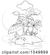 Royalty Free RF Clip Art Illustration Of A Coloring Page Outline Of A Lounge Chair On A Tropical Beach