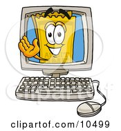 Clipart Picture Of A Yellow Admission Ticket Mascot Cartoon Character Waving From Inside A Computer Screen