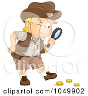 Royalty Free RF Clip Art Illustration Of A Treasure Hunting Boy Finding Gold Coins