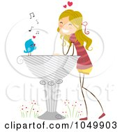 Royalty Free RF Clip Art Illustration Of A Bird Delivering A Love Letter To A Stick Girl