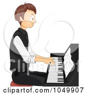 Teen Boy Playing A Piano