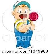 Royalty Free RF Clip Art Illustration Of A Happy Chubby Boy Holding A Lolipop by BNP Design Studio