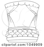 Royalty Free RF Clip Art Illustration Of A Coloring Page Outline Of A Theater