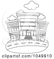 Royalty Free RF Clip Art Illustration Of A Coloring Page Outline Of Storefronts